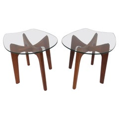 Pair of Adrian Pearsall Craft Associates End Table with Stingray Glass Tops