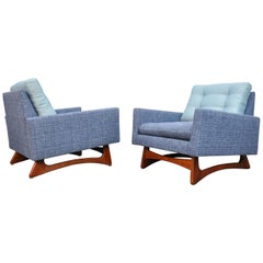 Pair of Adrian Pearsall for Craft Associates Walnut and Blue Linen Lounge Chairs