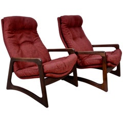 Pair of Adrian Pearsall for Craft Associates Walnut Lounge Chairs in Woven Wool
