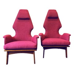 Pair of Walnut High Back Lounge Chairs by Adrian Pearsall for Craft Associates