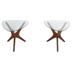 Pair of Adrian Pearsall Jacks Side Tables in Walnut & Glass for Craft Associates