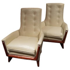 Pair of Adrian Pearsall Lounge Chairs Upholstered in White Leather