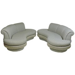 Pair of Adrian Pearsall Mid-Century Modern Cloud Kidney Shaped Sofas