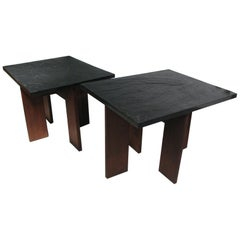 Pair of Adrian Pearsall Mid-Century Modern Walnut with Slate Top End Tables