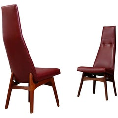 Pair of Adrian Pearsall Midcentury Dining Chairs Red for Craft Associates, 1950s