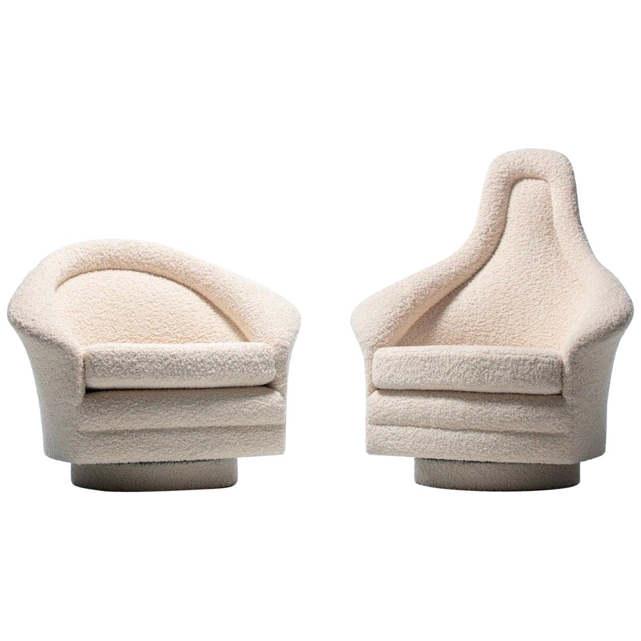 Pair of Adrian Pearsall Mom & Pop Swivel Lounge Chairs in Ivory Bouclé