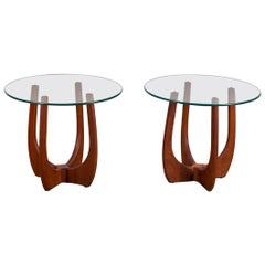 Pair of Adrian Pearsall Round Glass Side Tables