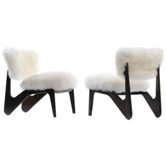 Pair of Ivory Sheepskin & Sculpted Walnut Slipper Chairs