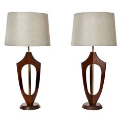 Pair of Adrian Pearsall Style Sculpted Walnut and Brass Table Lamps, 1950s