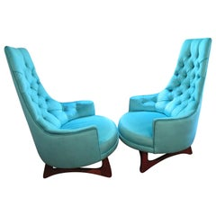 Pair of Adrian Pearsall Tall Back Tufted Sculpted Walnut Base Lounge Chair