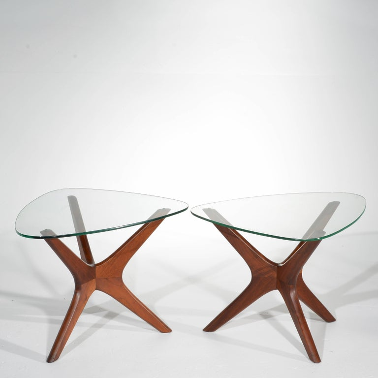 Pair of walnut side tables designed by Adrian Pearsall, manufactured by Craft Associates. In excellent condition.