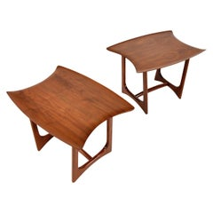 Pair of Adrian Pearsall Walnut Stingray Tables by Craft Associates