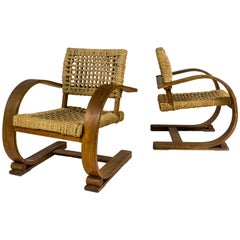 Pair of Adrien Audoux and Frida Minet Armchairs for Vibo, France, circa 1940