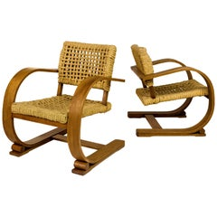 Pair of Adrien Audoux and Frida Minet Chairs, circa 1940, France
