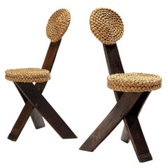 Pair of Adrien Audoux and Frida Minet Side Chairs in Oak and Braided Straw