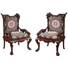 Pair of Aesthetic Movement Armchairs Attributed to G. Viardot