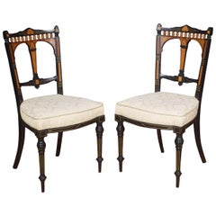 Pair of Aesthetic Movement Ebonies Side Chairs