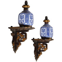 Pair of Aesthetic Movement Style Wall-Lights Attributed to l'Escalier de Cristal
