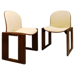 "Pair of Afra and Tobia Scarpa ""Dialogo"" Chairs for B&B Italia, Walnut, 1973"