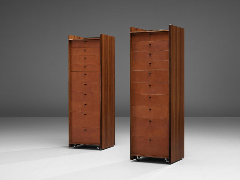 Afra & Tobia Scarpa, chest of drawers, model 'Artona', rosewood, leather, Italy, 1970s