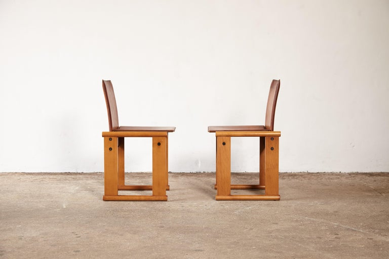 Leather Pair of Afra & Tobia Scarpa Dining Chairs for Molteni, Italy, 1970s For Sale