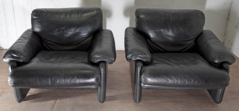 Modern Pair of Afra & Tobia Scarpa Italian Leather Armchairs