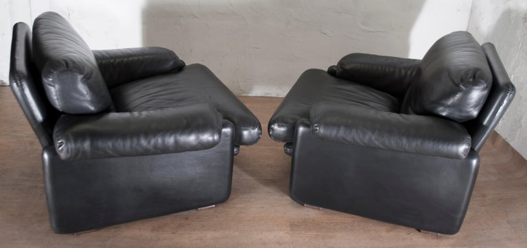 Mid-20th Century Pair of Afra & Tobia Scarpa Italian Leather Armchairs