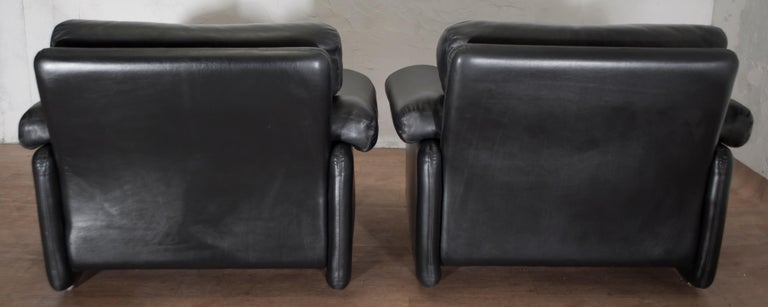 Pair of Afra & Tobia Scarpa Italian Leather Armchairs