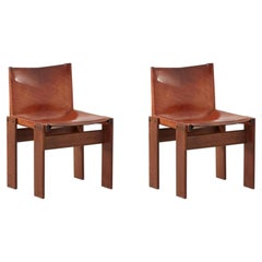 Pair of Afra & Tobia Scarpa Monk Tan Chairs for Molteni, Italy, 1974