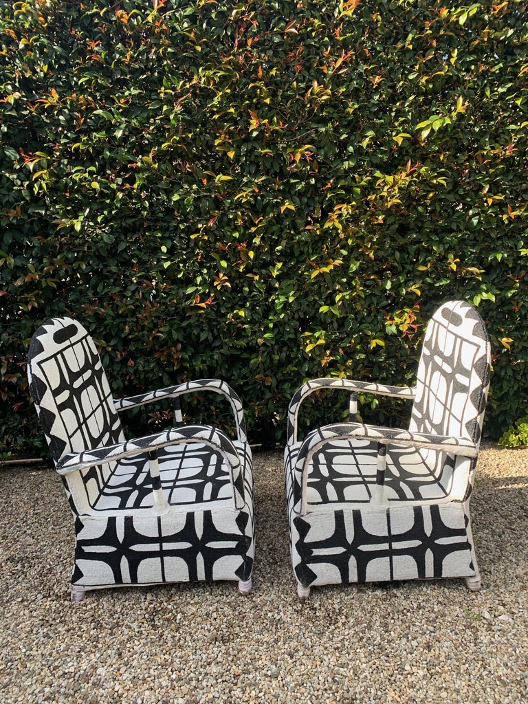Nigerian Pair of African Beaded Ceremonial Chairs For Sale