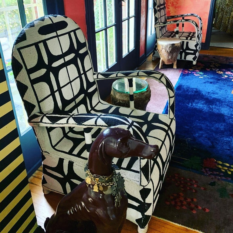 Pair of African Beaded Ceremonial Chairs For Sale 1