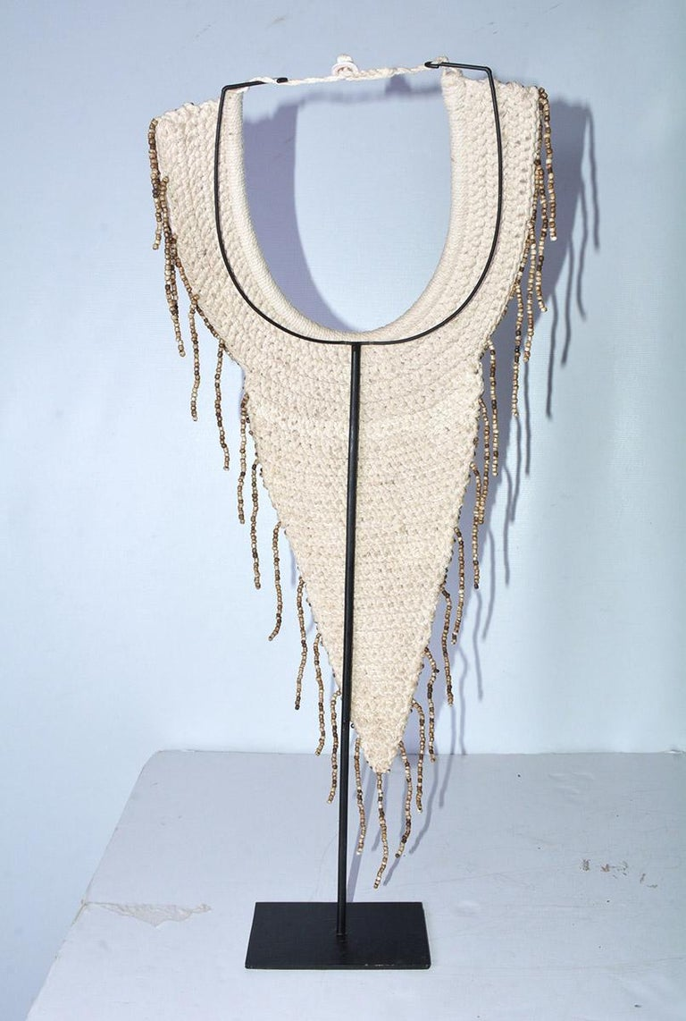 Pair of African Bib Necklace on Metal Stands For Sale 3