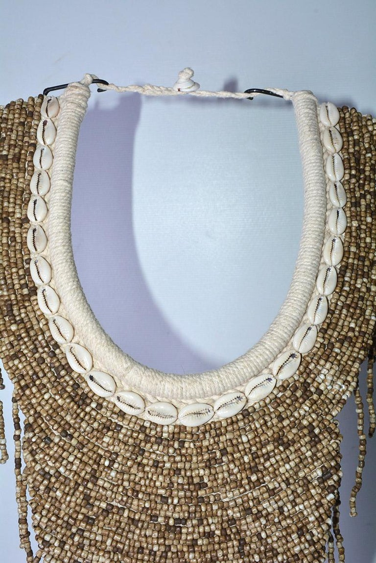 Pair of African Bib Necklace on Metal Stands In New Condition For Sale In Great Barrington, MA