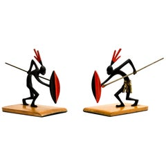 Pair of African Bronze Bookends Warrior in the Style of Hagenauer, circa 1930s