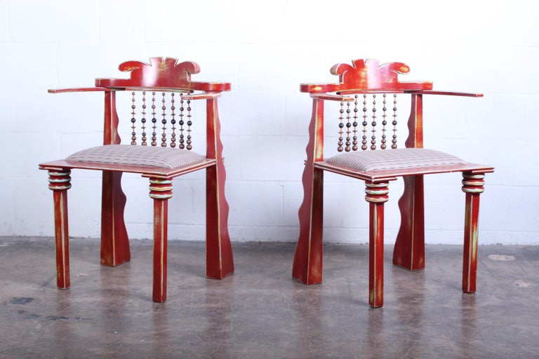 A pair of custom African chairs by Garry Knox Bennett. Signed and dated 1989.