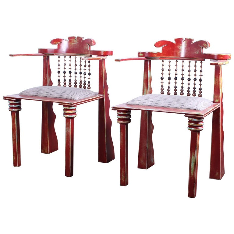 Pair of African Chairs by Garry Knox Bennett, 1989 For Sale