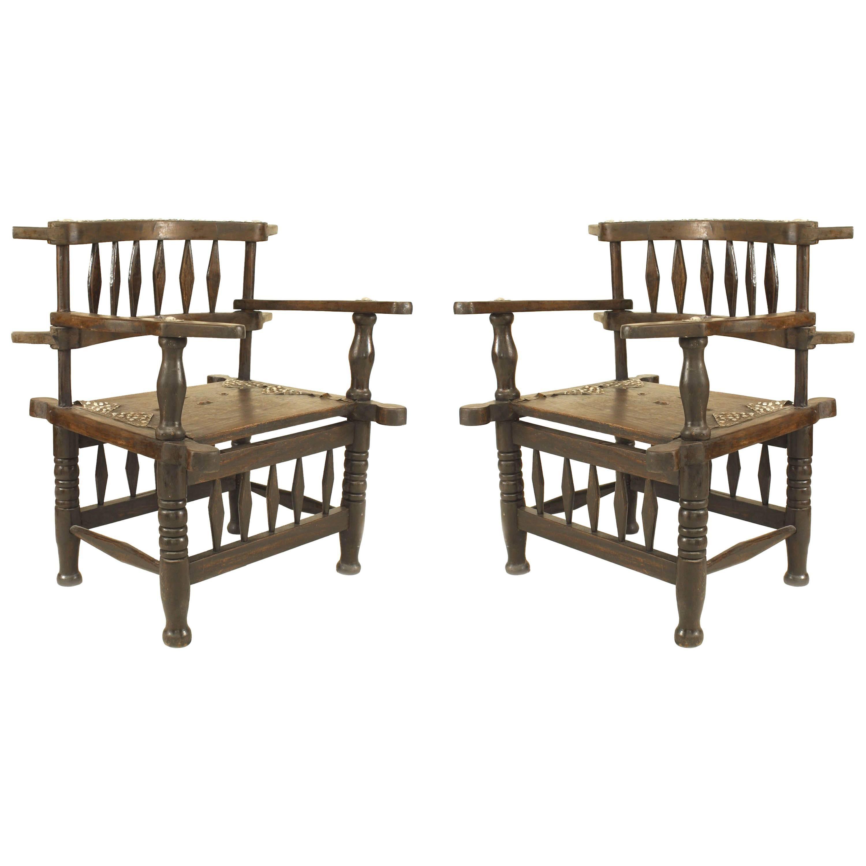 Pair of African Hardwood Diamond Armchairs