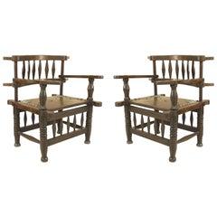 Pair of African Hardwood Armchairs
