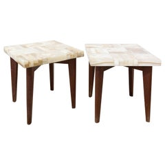 Pair of African Onyx End Table, Side Table or Plant Holder, circa 1960