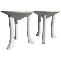 Pair of African Plaster Side Tables