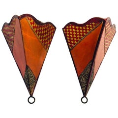 Pair of African Tribal Art Parchment Wall Shade Sconces in Safran and Tan Colors