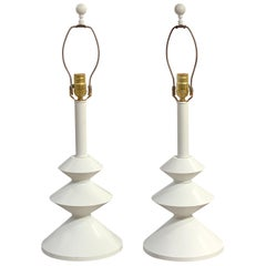 Pair of After, Alberto Giacometti Style Enameled Metal Sculptural Lamps