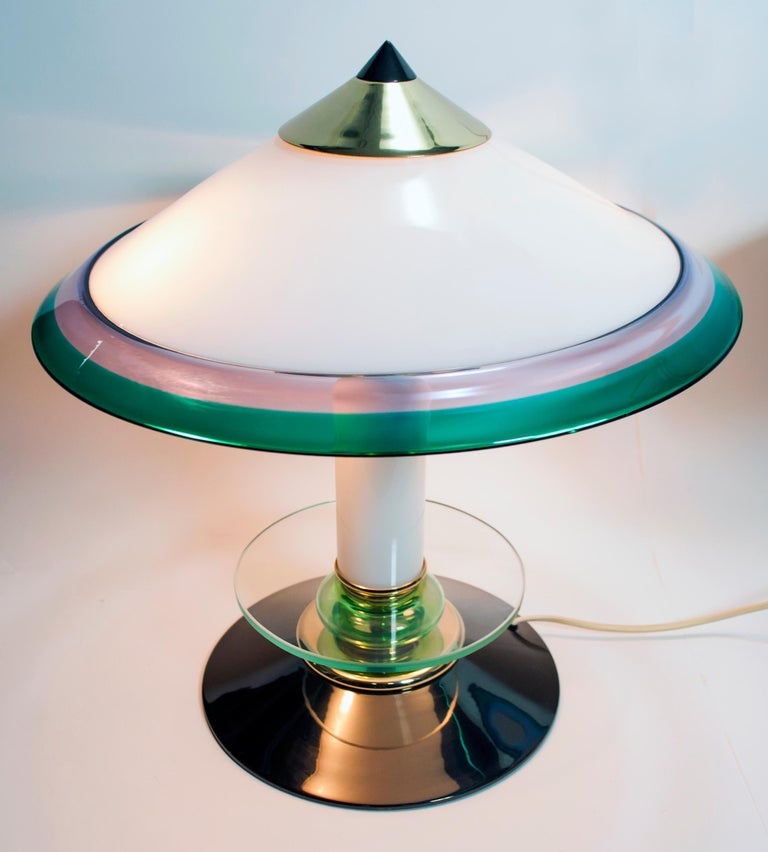 Pair of after Ettore Sottsass Italian Murano Glass Table Lamps, 1980s For Sale 3