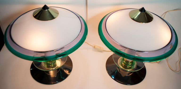 Modern Pair of after Ettore Sottsass Italian Murano Glass Table Lamps, 1980s For Sale