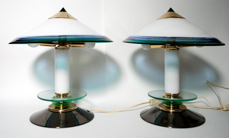 Lacquered Pair of after Ettore Sottsass Italian Murano Glass Table Lamps, 1980s For Sale