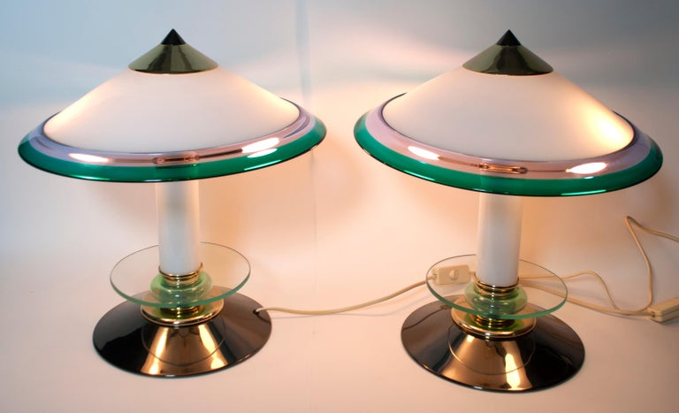 Pair of after Ettore Sottsass Italian Murano Glass Table Lamps, 1980s In Good Condition For Sale In Cerignola, Italy Puglia
