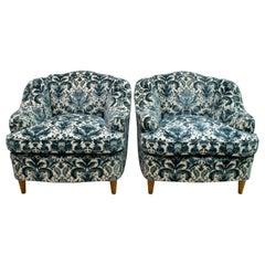 Pair of After Gio Ponti Mid-Century Modern Italian Textured Velvet Armchairs