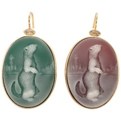 Pair of Agate Cameo, Diamond and Yellow Gold Earrings