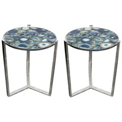 Pair of Agate Stone Marble Side Round Tables