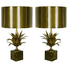 Pair of Agave Lamps, Jacques Charles for Maison Charles, France, circa 1970
